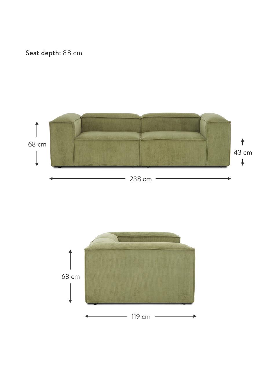 Canapé modulable 3 places velours côtelé vert Lennon, Velours côtelé vert