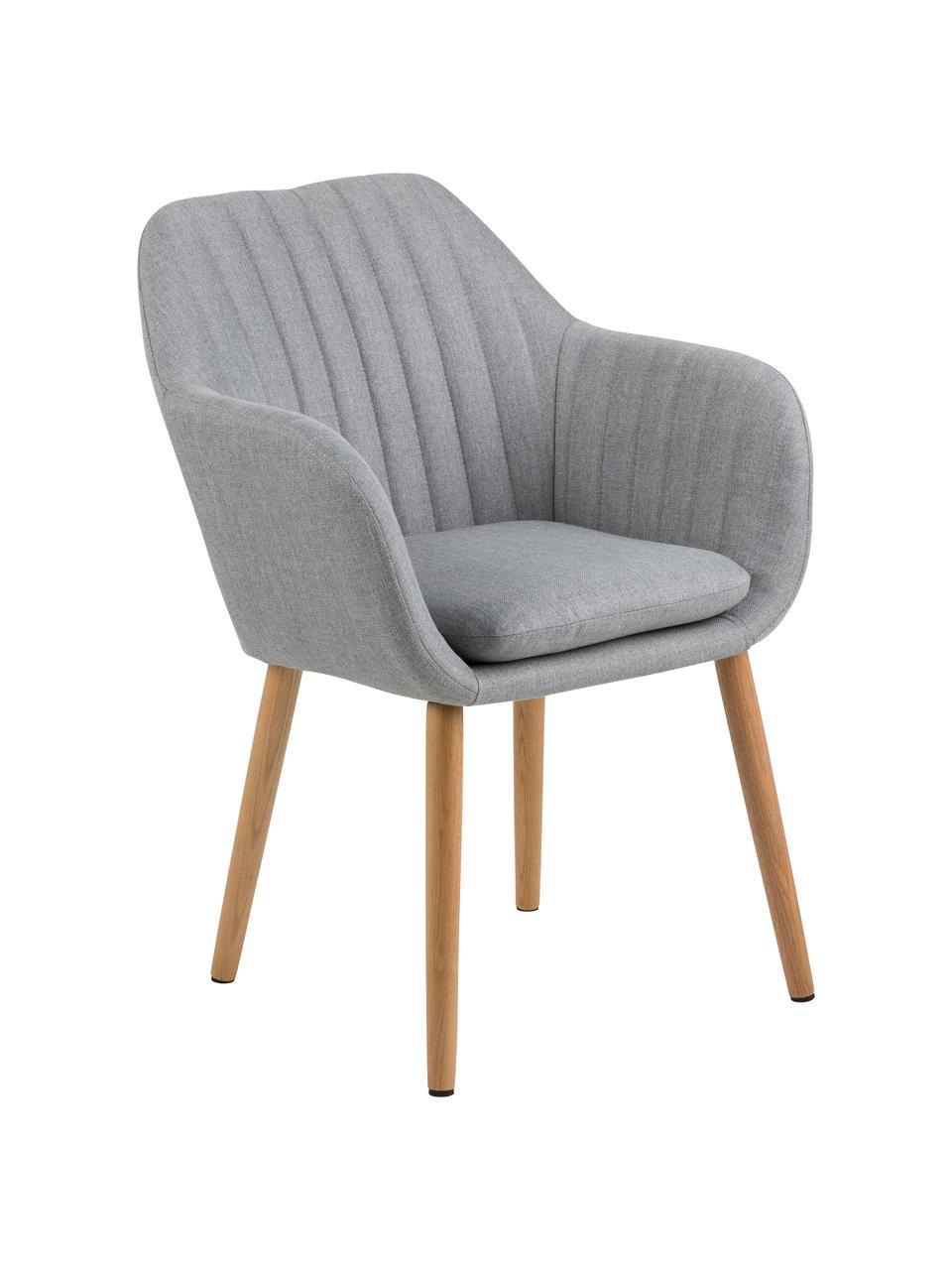 Čalouněná židle spodručkami a dřevěnými nohami Emilia, Světle šedá, Nohy dub
