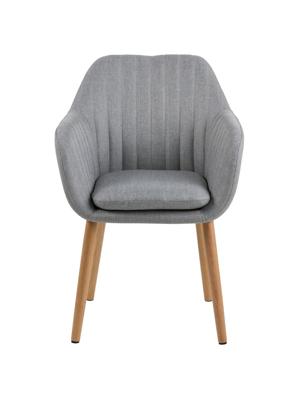 Krzesło z aksamitu z podłokietnikami i drewnianymi nogami Emilia, Tapicerka: aksamit poliestrowy Dzięk, Nogi: drewno dębowe, olejowane, Jasny szary, drewno dębowe, S 57 x G 59 cm