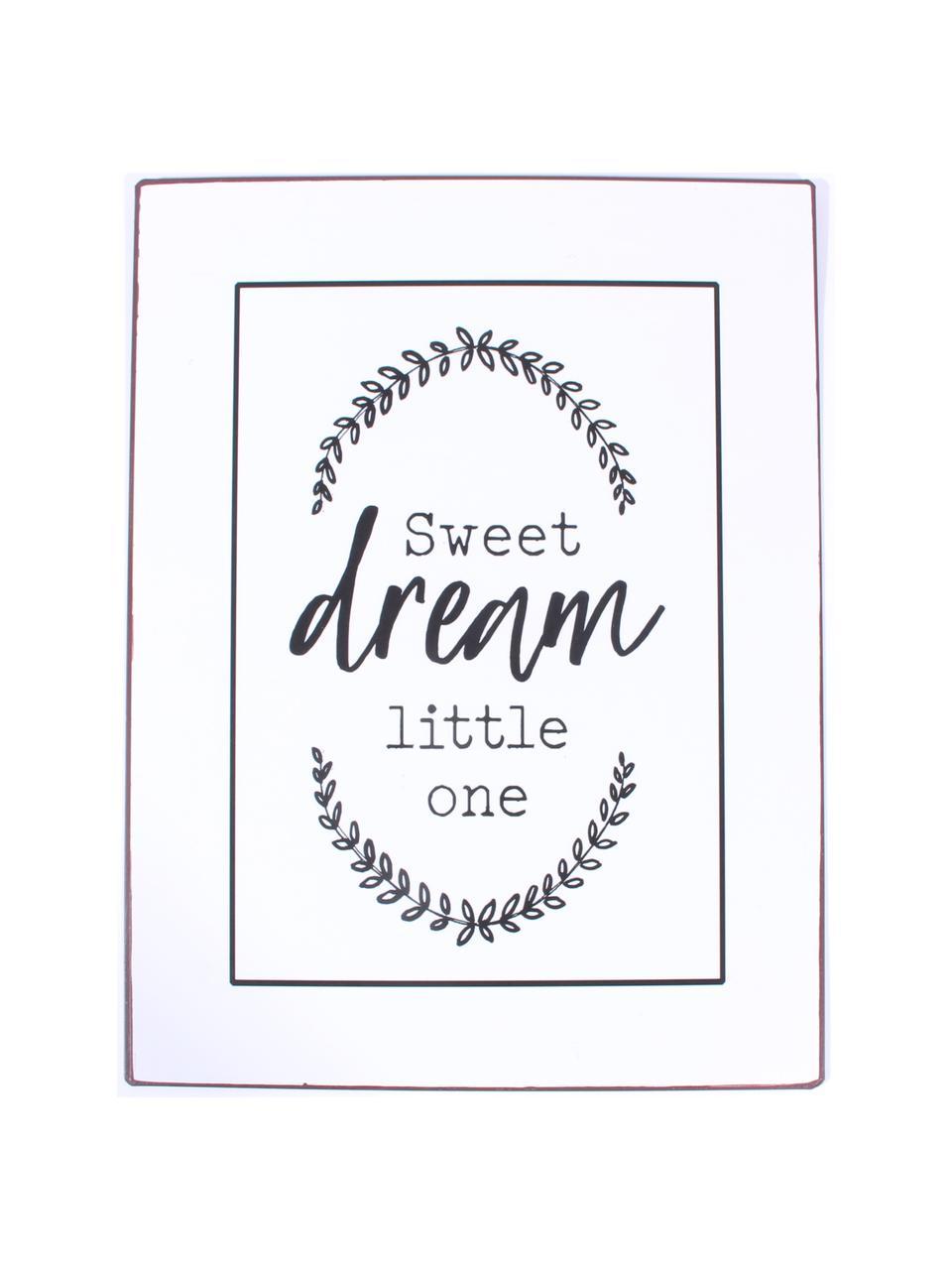 Wandschild Sweet dream little one, Metall, beschichtet, Weiß, Schwarz, 27 x 35 cm