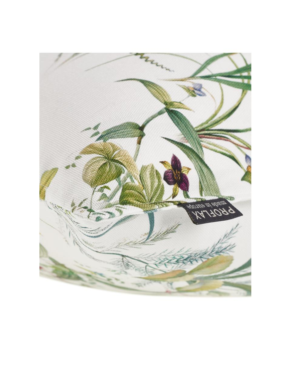 Kissenhülle Anjuli mit Blümchenprint, 100% Baumwolle, Weiß, Mehrfarbig, 40 x 40 cm