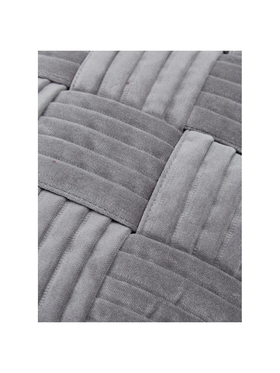 Samt-Kissenhülle Sina in Dunkelgrau mit Strukturmuster, Samt (100% Baumwolle), Grau, 45 x 45 cm
