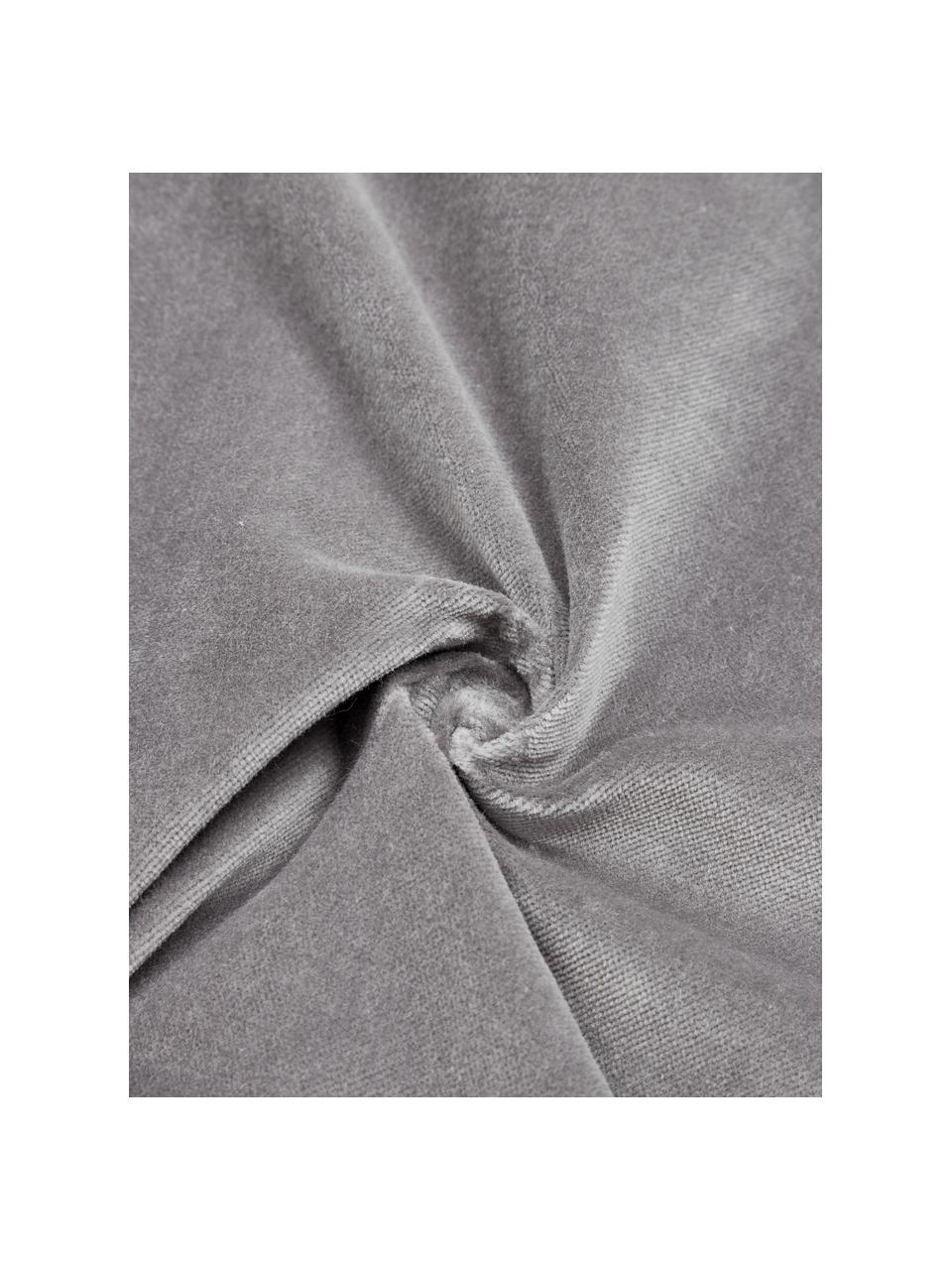 Federa arredo in velluto grigio scuro con motivo a rilievo Sina, Velluto (100% cotone), Grigio, Larg. 45 x Lung. 45 cm