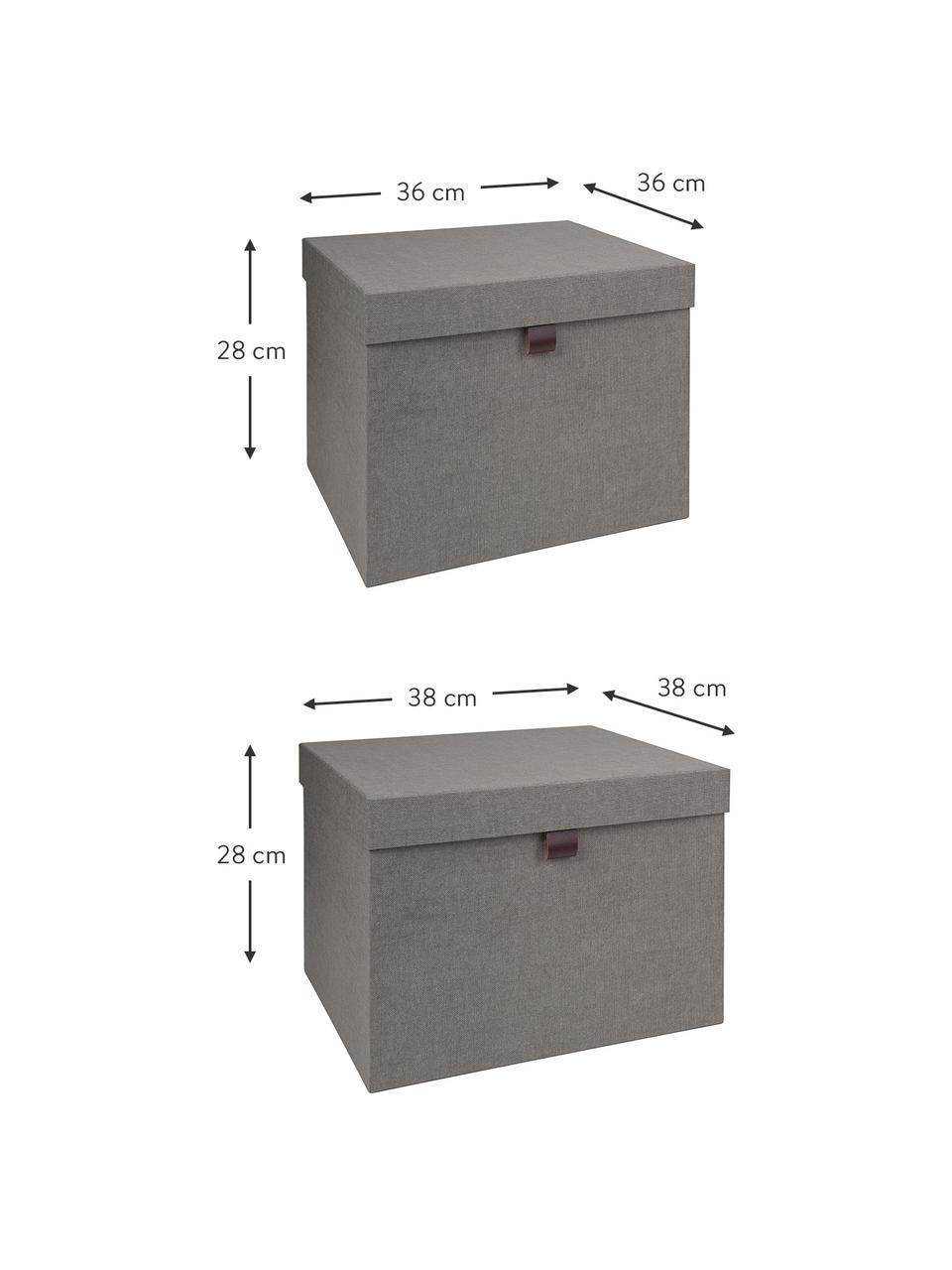 Aufbewahrungsboxen-Set Tristan, 2-tlg., Box: Fester, laminierter Karto, Griff: Leder, Grau, Sondergrößen