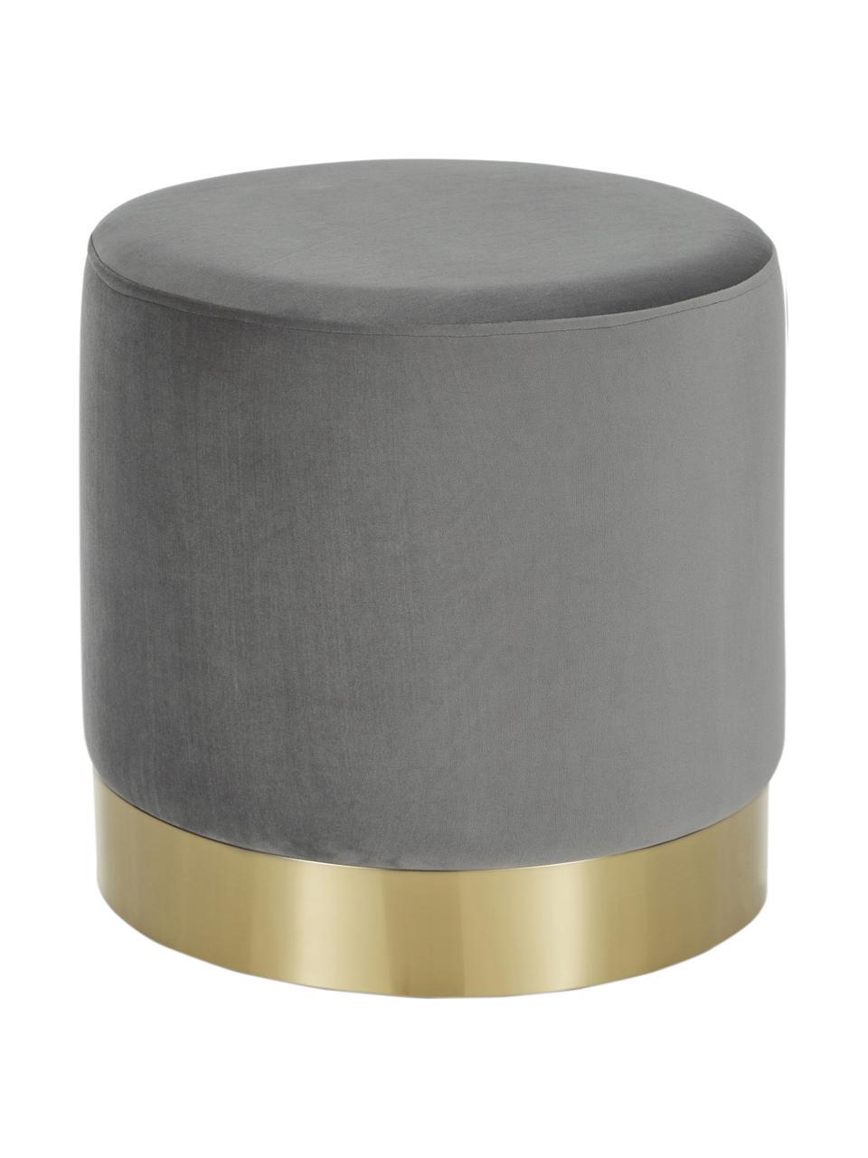 Pouf in velluto grigio Orchid, Rivestimento: velluto (100% poliestere), Struttura: compensato, Rivestimento: grigio Base: dorato, Ø 38 x Alt. 38 cm