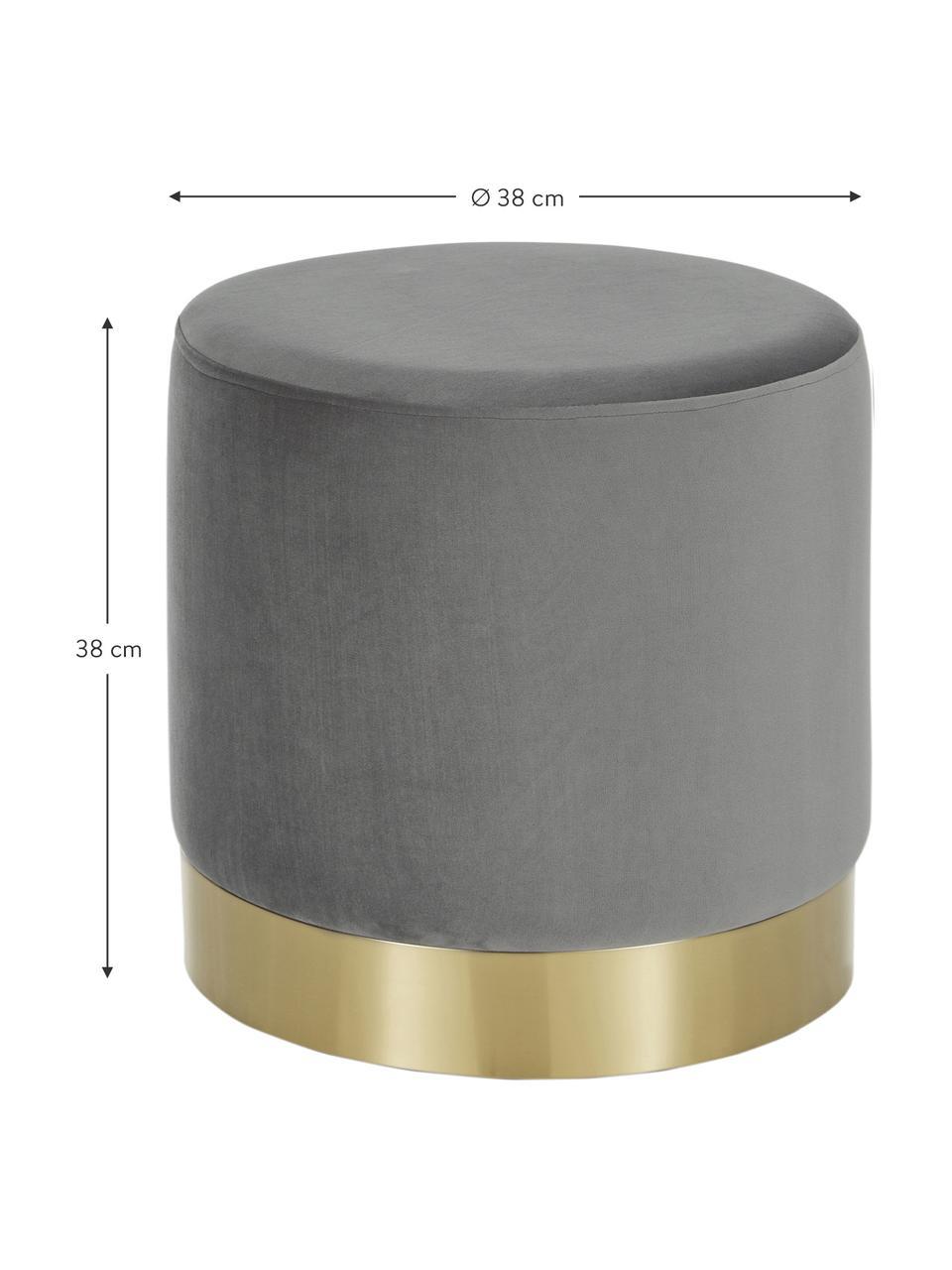 Fluwelen poef Orchid in grijs, Bekleding: fluweel (100% polyester), Frame: karton, multiplex, Voet: gecoat metaal, Bekleding: grijs. Voet: goudkleurig, Ø 40 x H 39 cm