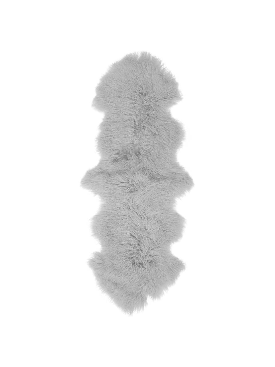 Langhaar-Lammfell-Teppich Ella, gelockt, Vorderseite: Mongolisches Lammfell, Rückseite: Leder, Hellgrau, 50 x 160 cm