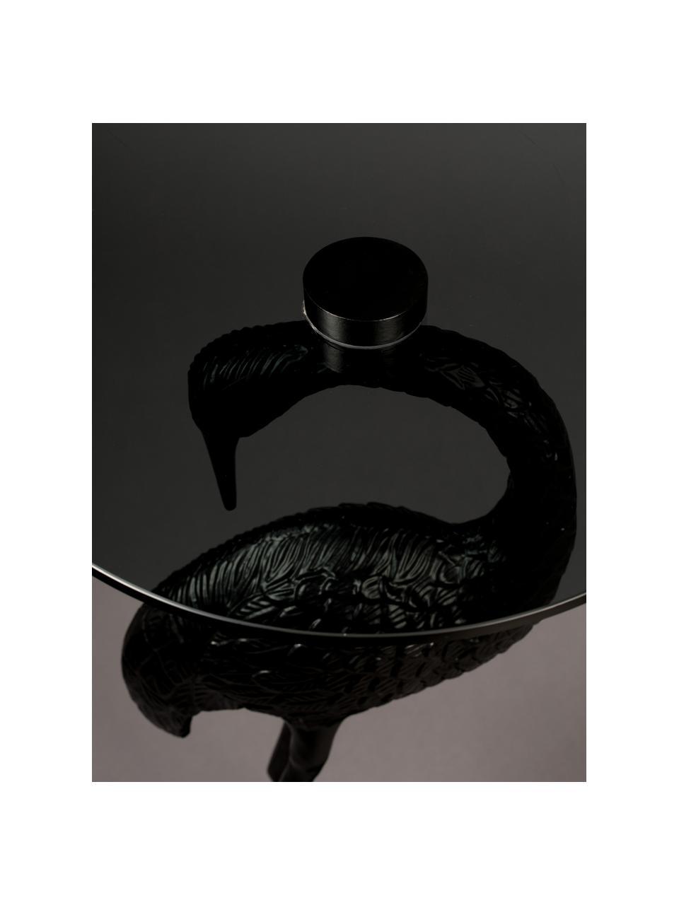 Stolik pomocniczy ze szklanym blatem Crane, Blat: szkło, barwione, Stelaż: aluminium malowane proszk, Czarny, Ø 40 x W 63 cm