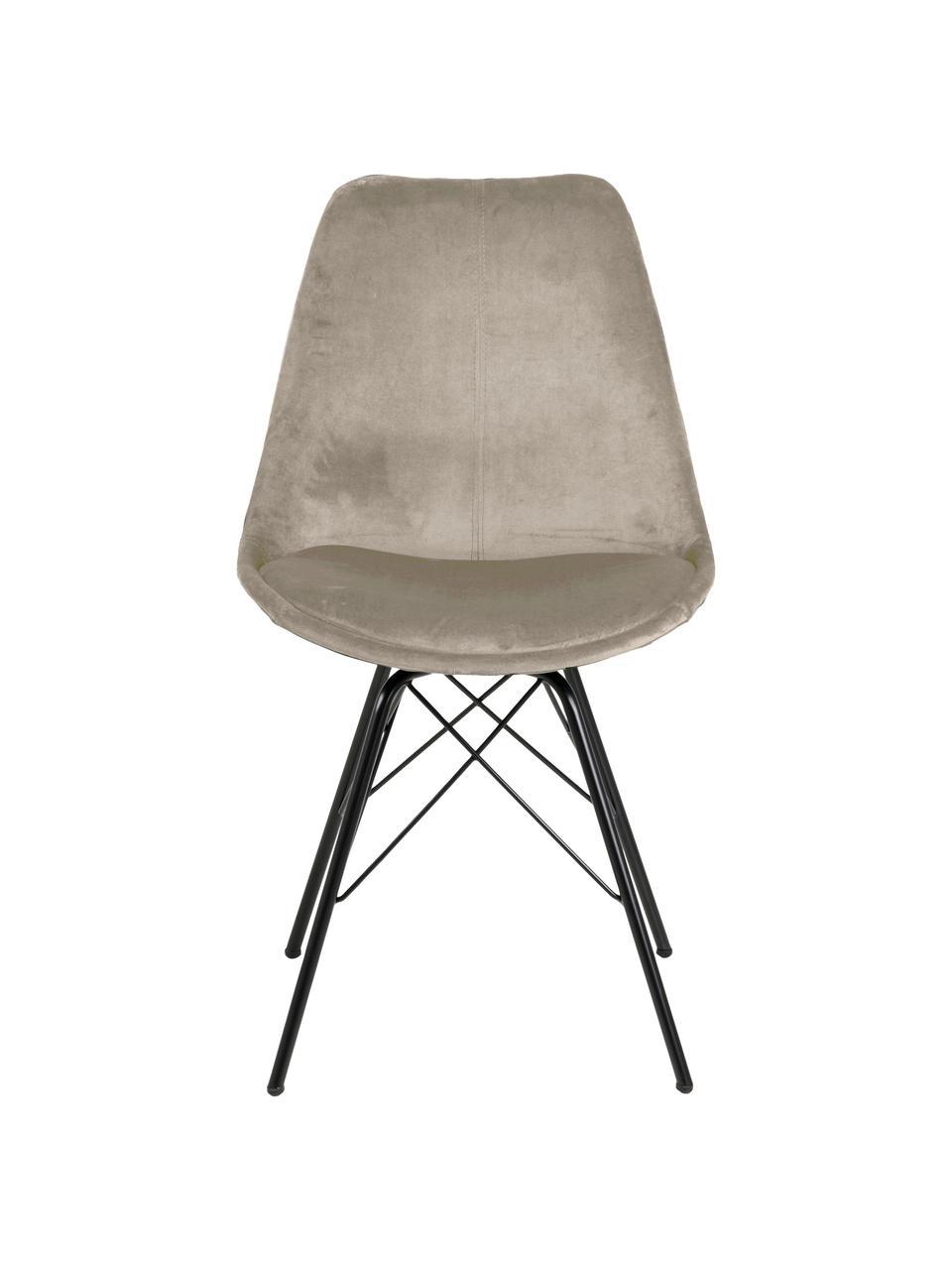 Chaise en velours rembourrée Eris, 2pièces, Beige, noir