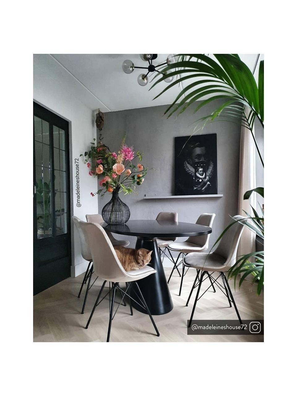 Krzesło tapicerowane z aksamitu Eris, 2 szt., Tapicerka: aksamit poliestrowy Dzięk, Nogi: metal malowany proszkowo, Beżowy, czarny, S 49 x G 54 cm
