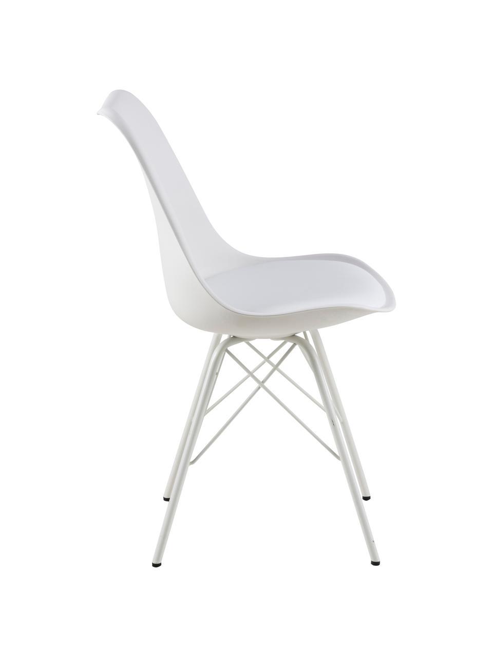 Kunststoff-Stühle Eris, 2 Stück, Sitzschale: Kunststoff, Beine: Metall, pulverbeschichtet, Weiß, B 49 x T 54 cm