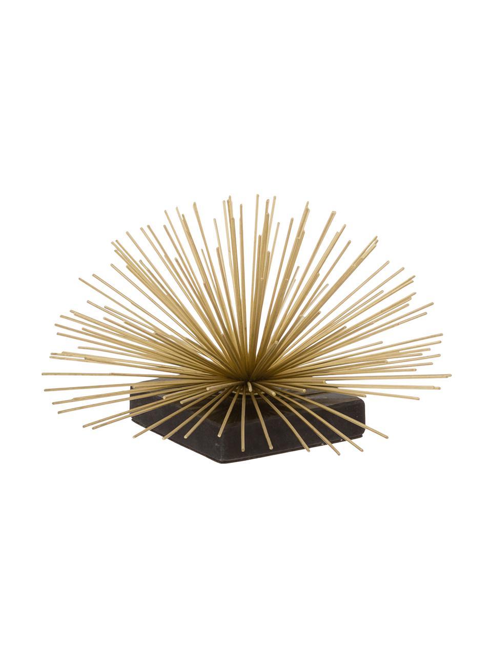 Deko-Objekt Marburch, Aufsatz: Metall, Fuß: Marmor, Unterseite: Filz, Aufsatz: Goldfarben, Fuß: Schwarzer Marmor, Ø 21 x H 13 cm
