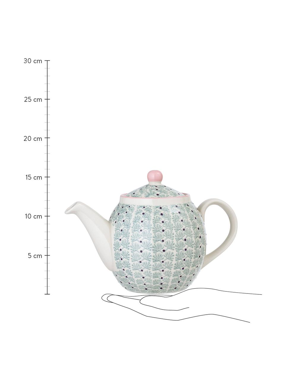 Handbemalte Steingut Teekanne Maya, 1.2 L, Steingut, Weiß, Grün, Rosa, Lila, 1.2 L