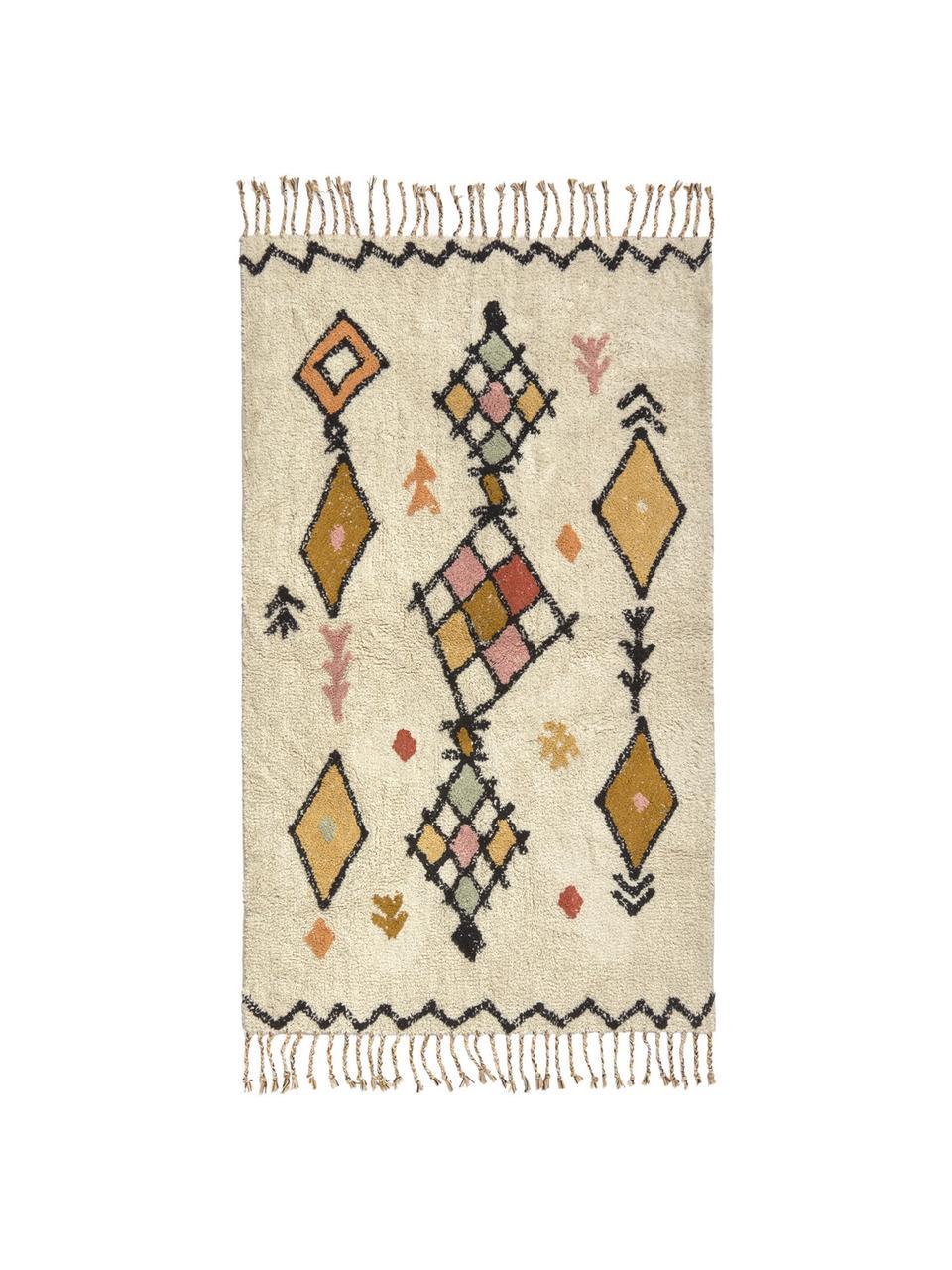 Teppich Bereber mit Ethno-Muster und Fransen, 100% Baumwolle, Cremefarben, Mehrfarbig, B 90 x L 150 cm (Größe XS)