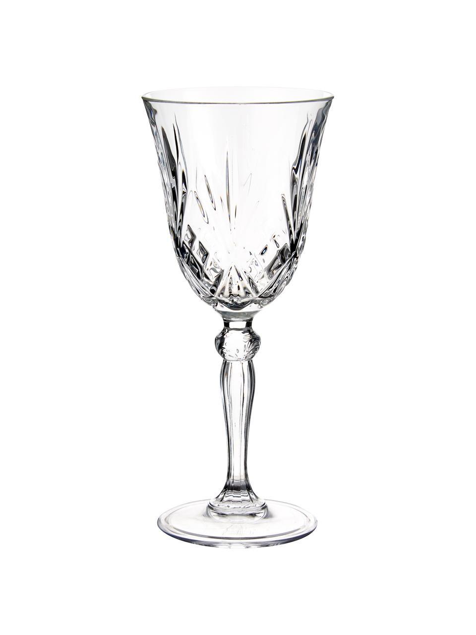 Kristall-Weingläser Melodia mit Relief, 6 Stück, Kristallglas, Transparent, Ø 8 x H 19 cm