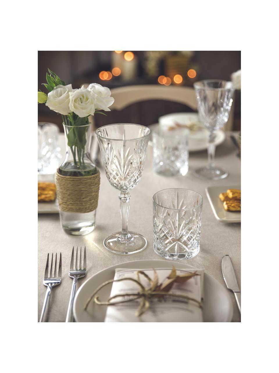 Bicchiere da vino bianco in cristallo Melodia 6 pz, Vetro di cristallo, Trasparente, Ø 8 x Alt. 19 cm