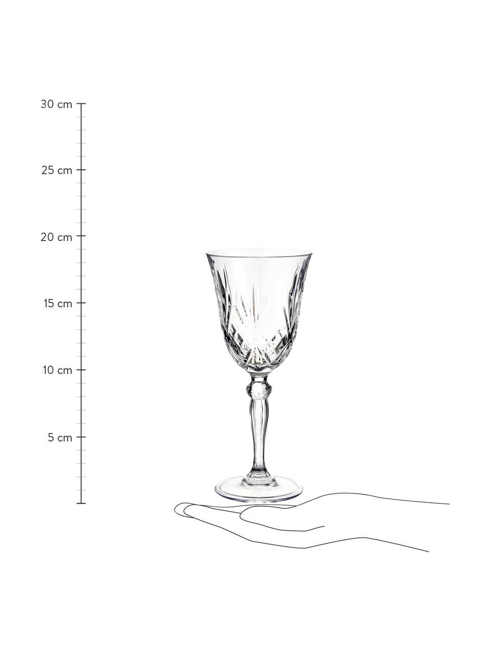Kieliszek do wina ze szkła kryształowego Melodia, 6 szt., Szkło kryształowe, Transparentny, Ø 8 x W 19 cm