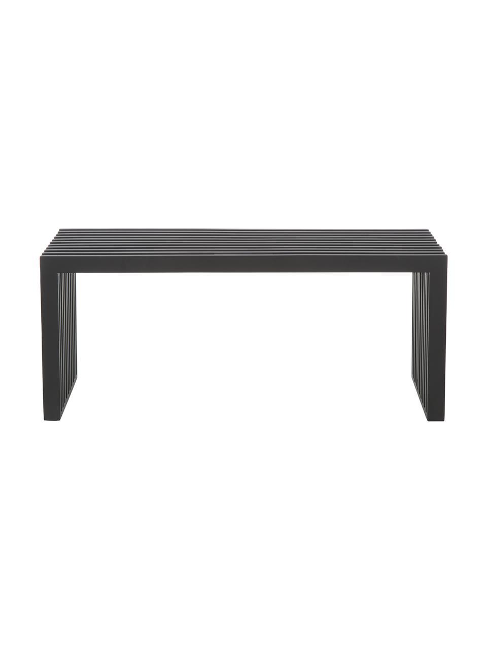 Sitzbank Rib in Schwarz aus Massivholz, Mahagoniholz, lackiert, Schwarz, 104 x 43 cm