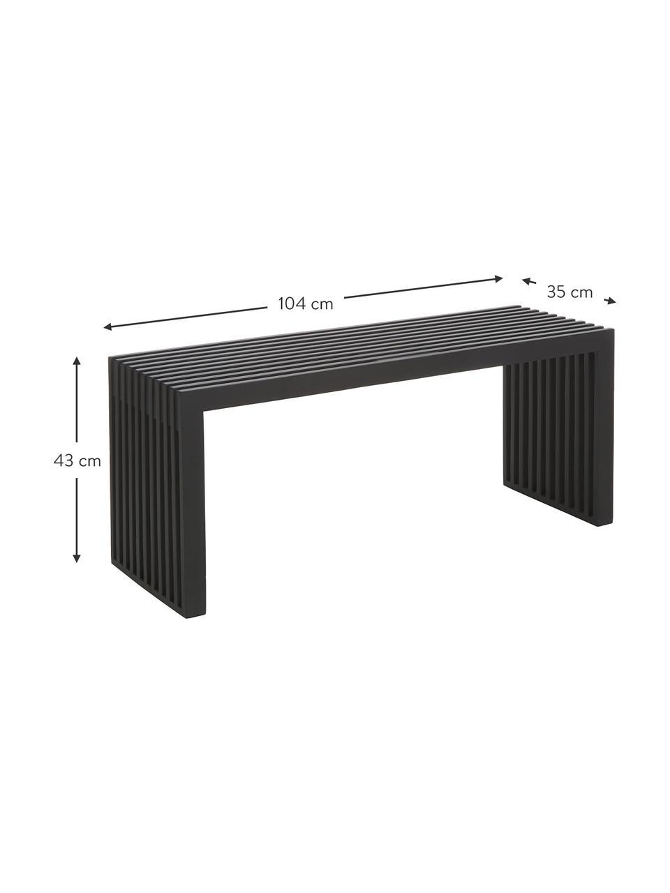 Sitzbank Bank Rib in Schwarz aus Massivholz, Mahagoniholz, lackiert, Schwarz, 104 x 43 cm