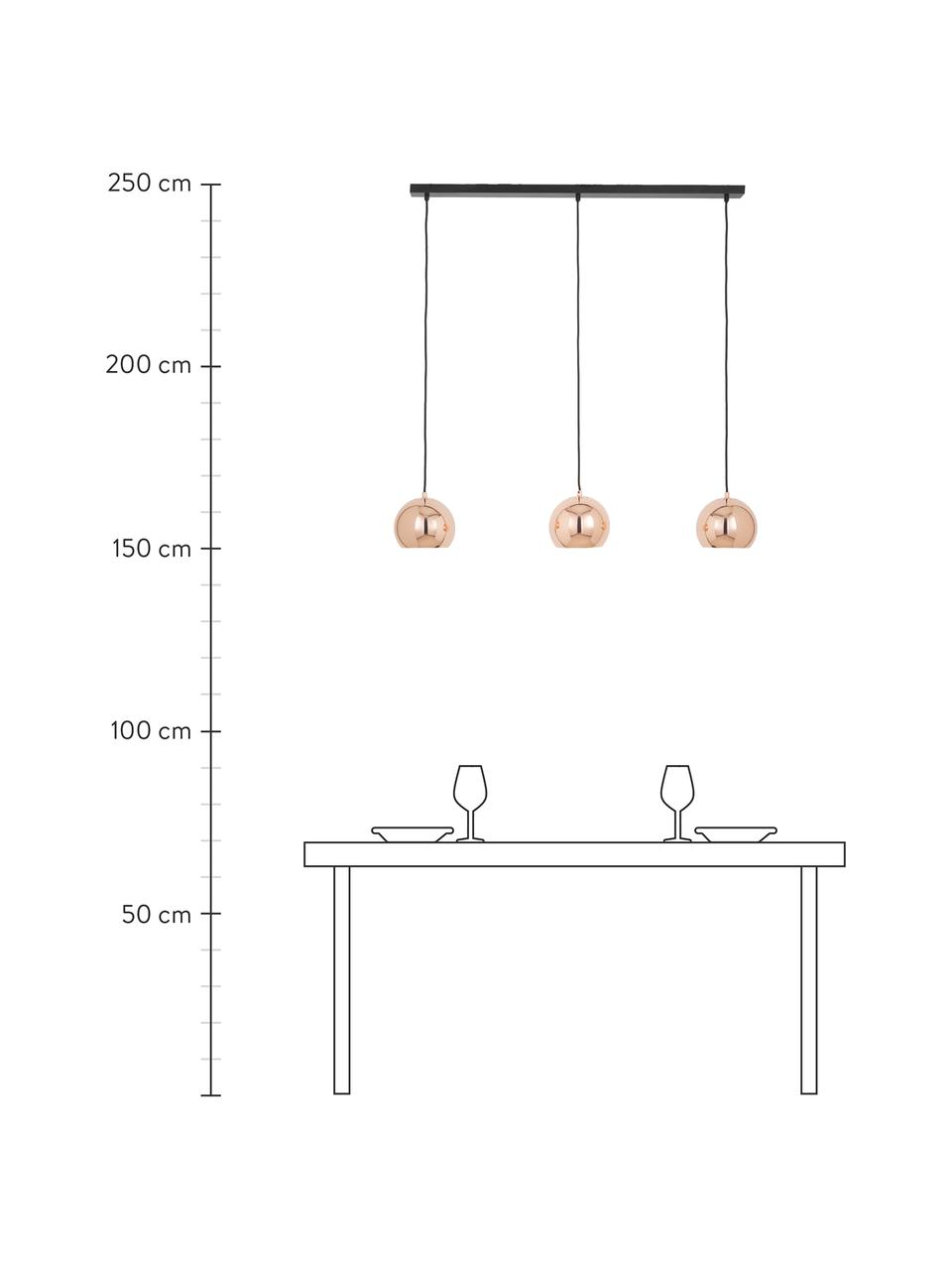 Grande suspension industrielle 3 lampes Ball, Cuivre, très brillant, noir, mat