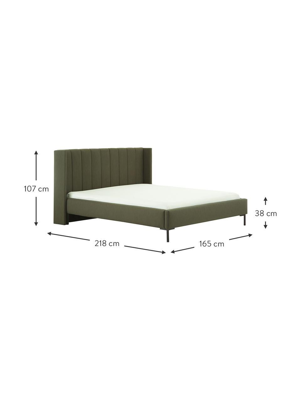Łóżko tapicerowane Dusk, Tapicerka: tkanina o drobnej struktu, Korpus: lite drewno sosnowe i pły, Nogi: metal malowany proszkowo, Ciemny zielony, S 200 x D 200 cm