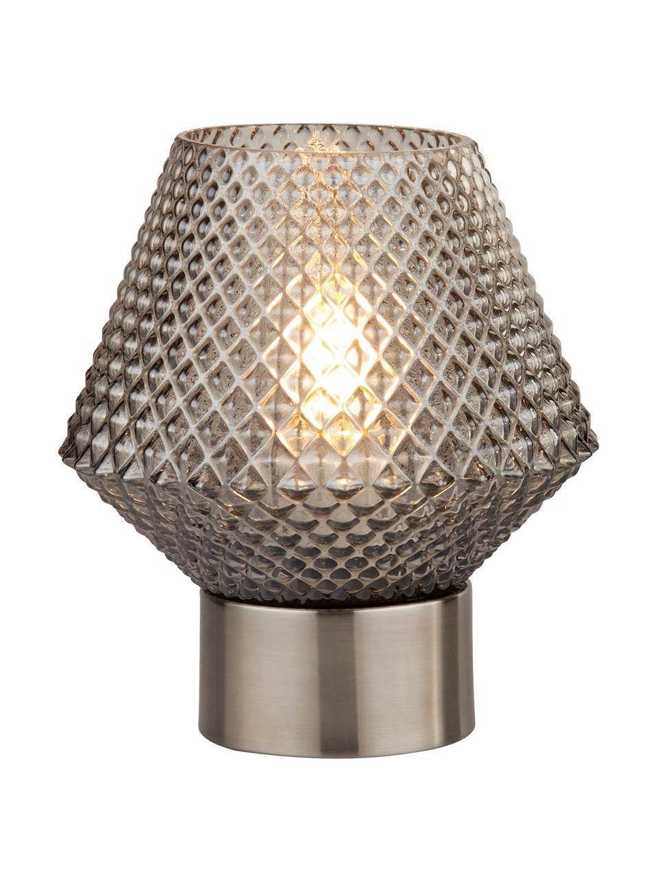 Kleine tafellamp Luisville van glas, Voetstuk: gecoat staal, Lampenkap: glas, Grijs, Ø 15 x H 18 cm