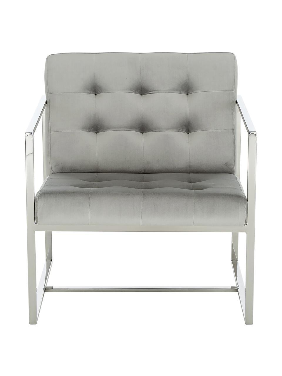 Fotel wypoczynkowy z aksamitu Manhattan, Tapicerka: aksamit (poliester) Dzięk, Aksamitny szary, S 70 x G 72 cm
