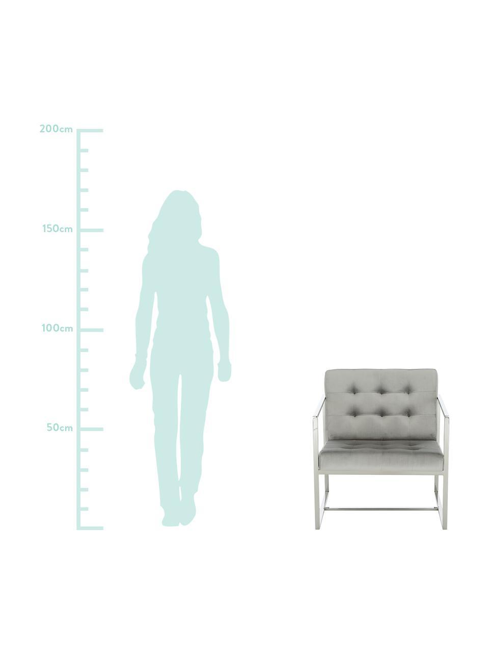 Fauteuil lounge en velours gris Manhattan, Velours gris