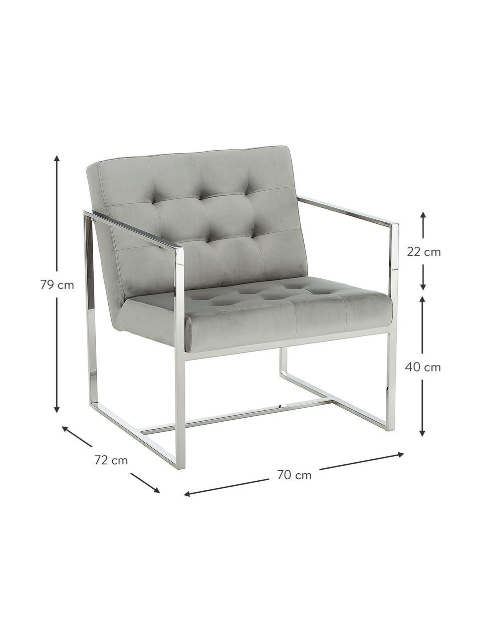 Fluwelen lounge fauteuil Manhattan in grijs, Bekleding: fluweel (polyester), Frame: gegalvaniseerd metaal, Fluweel grijs, 70 x 72 cm
