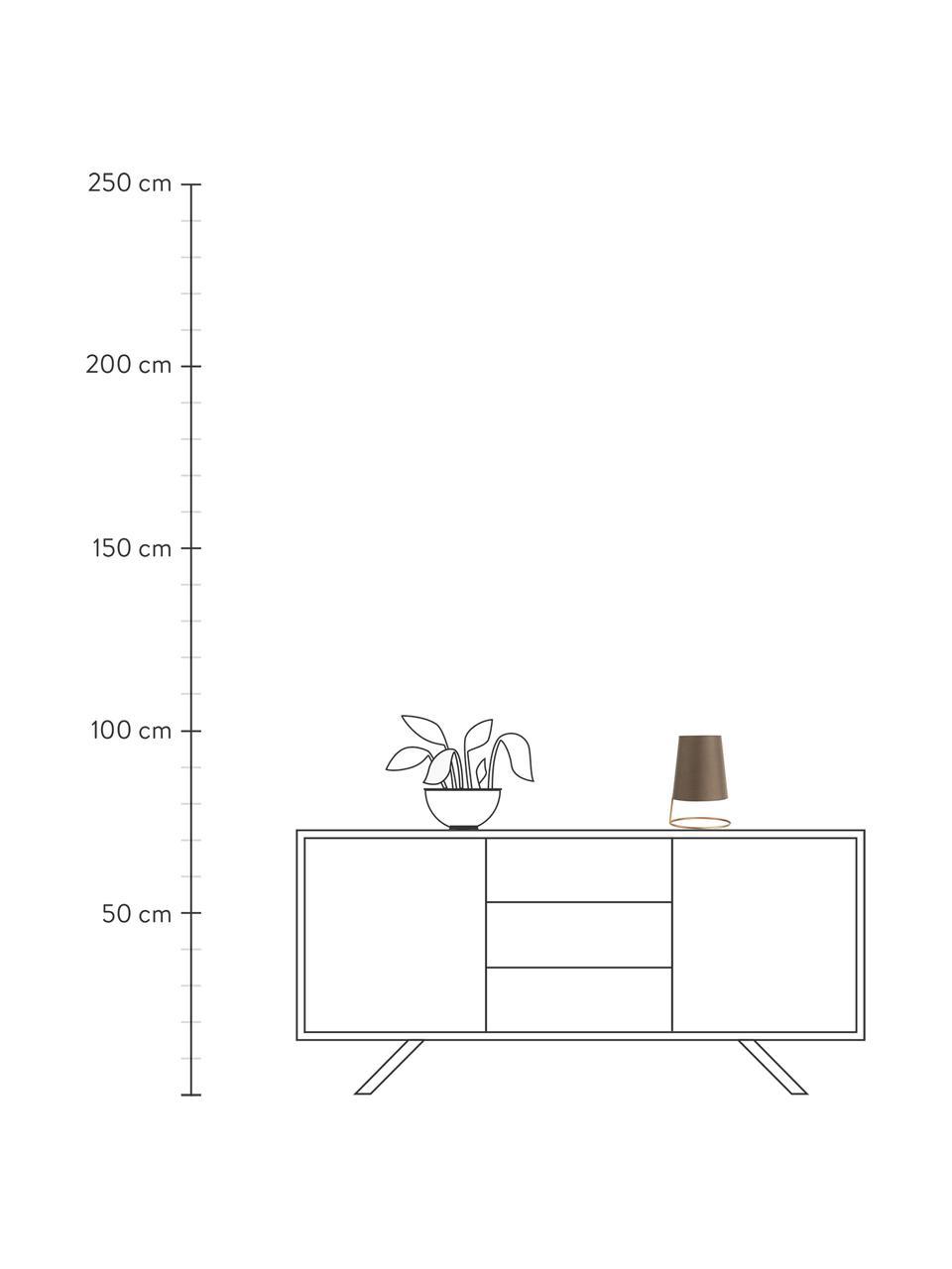Kleine Retro-Nachttischlampe Shiny Circle, Lampenschirm: Baumwollgemisch, Lampenfuß: Metall, beschichtet, Goldfarben, Braun, Ø 18 x H 26 cm