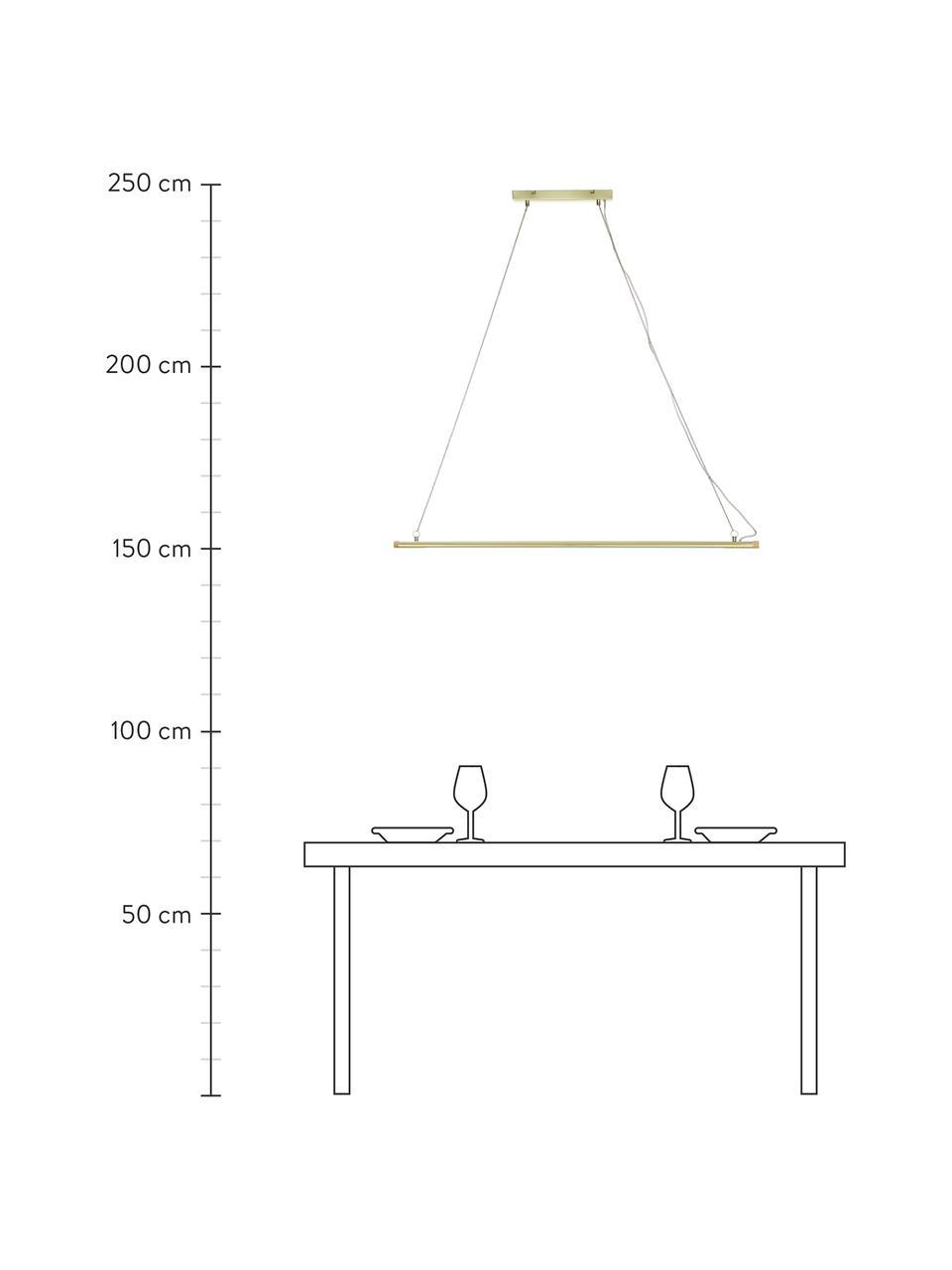 Große LED-Pendelleuchte Lumina mit Holz-Dekor, Lampenschirm: Metall, lackiert, Baldachin: Metall, lackiert, Messingfarben, 124 x 2 cm
