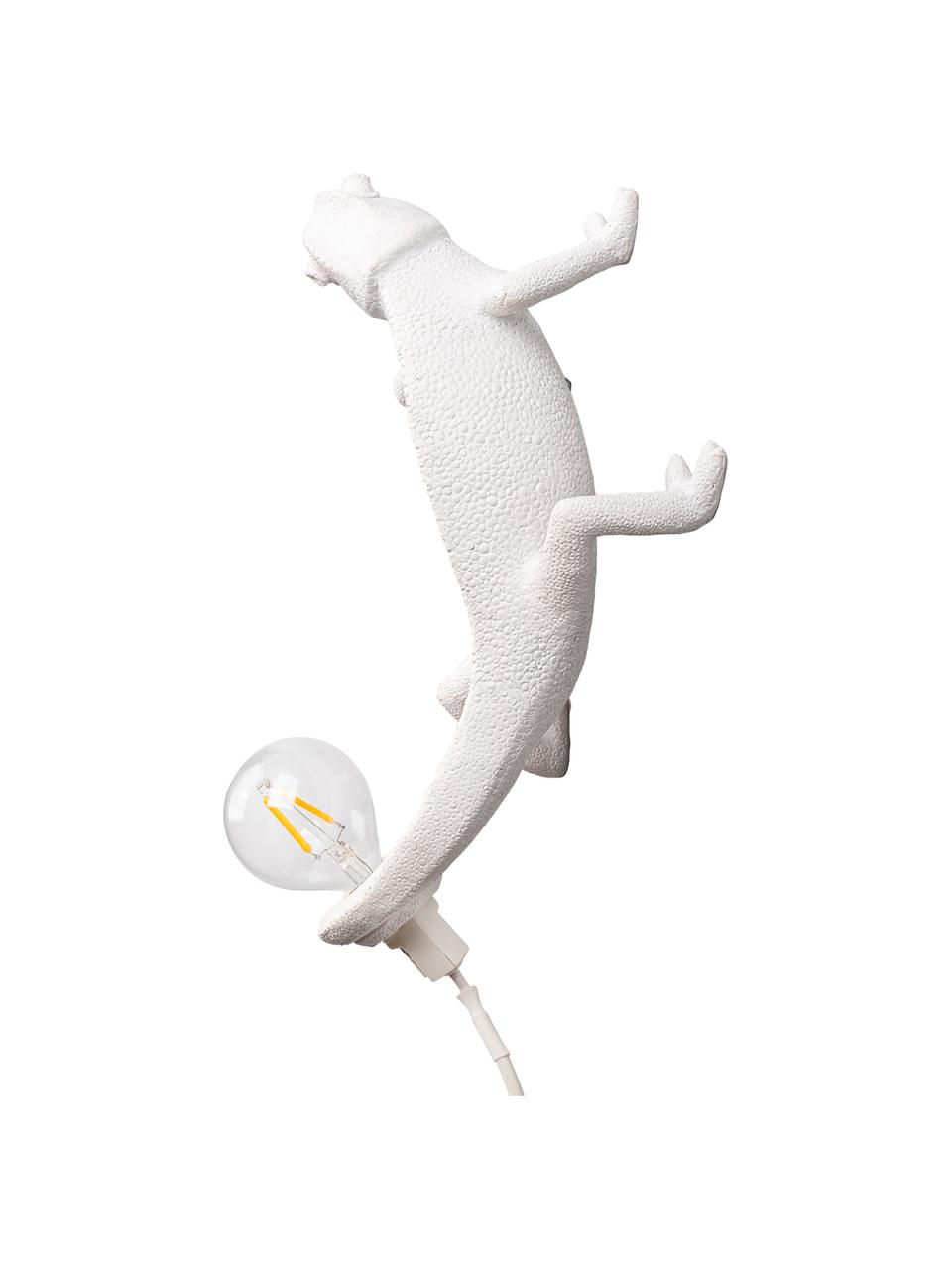 Applique con spina Chameleon, Lampada: poliresina, Bianco, Larg. 7 x Alt. 17 cm