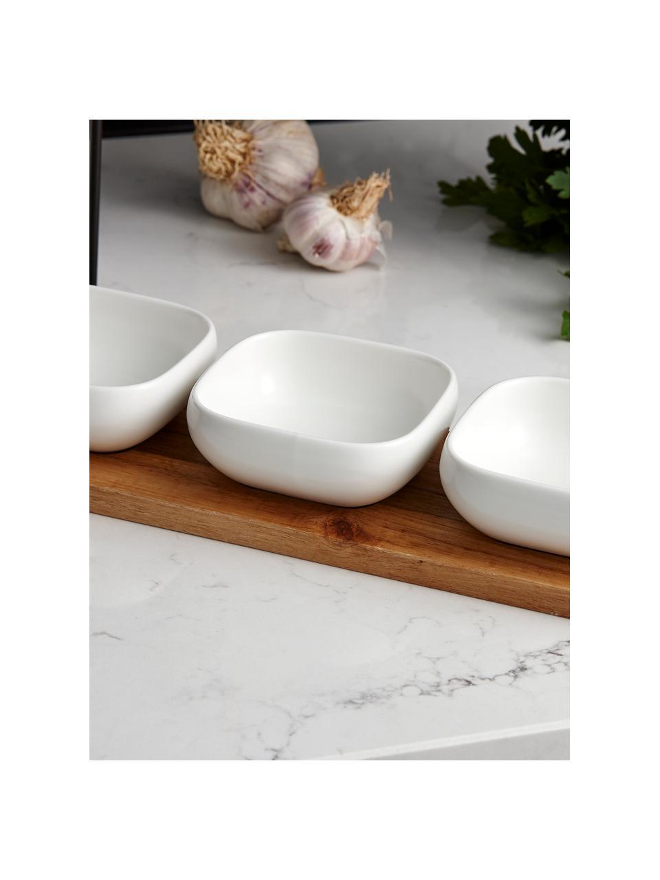Dipschälchen Essentials aus Porzellan und Akazienholz, 4er-Set, Schälchen: Porzellan, Tablett: Akazienholz, Weiß, Akazienholz, Sondergrößen