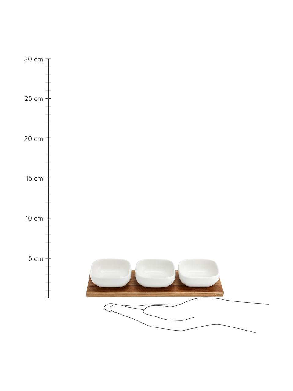 Komplet miseczek do dipów z porcelany i drewna akacjowego Essentials, 4 elem., Porcelana, drewno akacjowe, Biały, drewno akacjowe, Komplet z różnymi rozmiarami