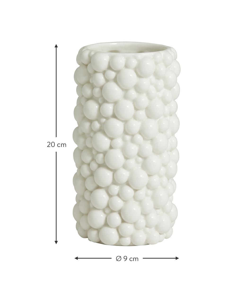 Keramische vaas Naxos, Keramiek, Wit, Ø 9 x H 20 cm