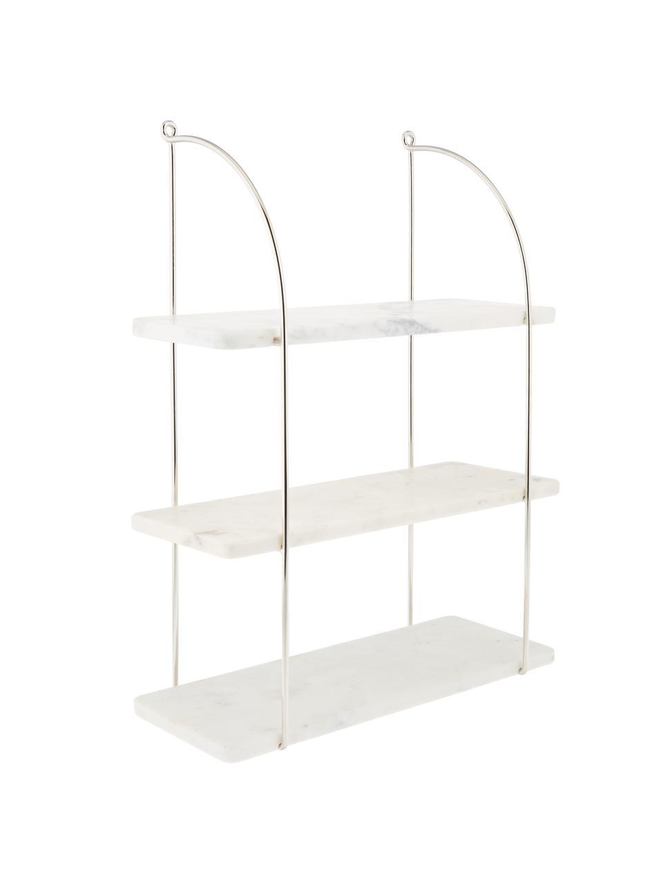Libreria da parete in marmo Porter, Mensole: marmo, Montatura: acciaio inossidabile Mensole: bianco marmorizzato, Larg. 40 x Alt. 58 cm