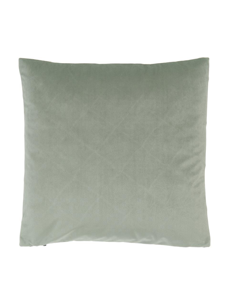 Samt-Kissenhülle Luka in Salbeigrün mit Struktur-Karomuster, Samt (100% Polyester), Grün, 40 x 40 cm