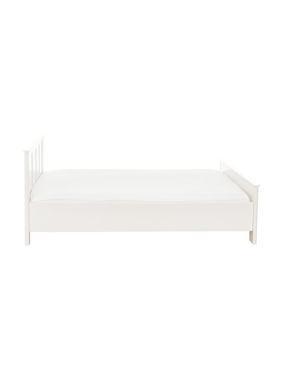 Letto in legno bianco Chalet, Truciolato sventato, Bianco, 160 x 200 cm