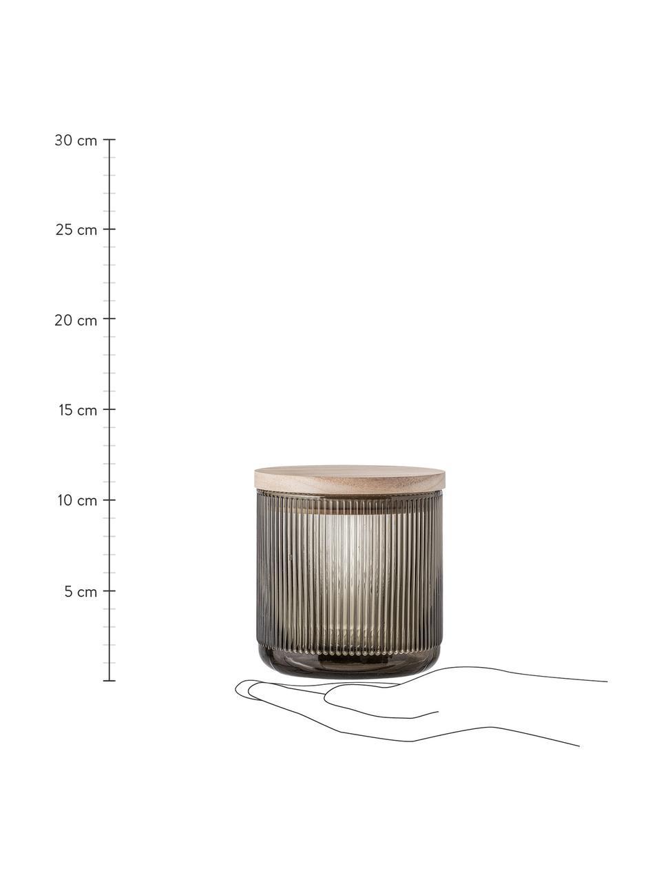 Aufbewahrungsglas Gianna mit Rillenstruktur, Ø 12 x H 12 cm, Deckel: Holz, Silikon, Grau, Holz, Ø 12 x H 12 cm