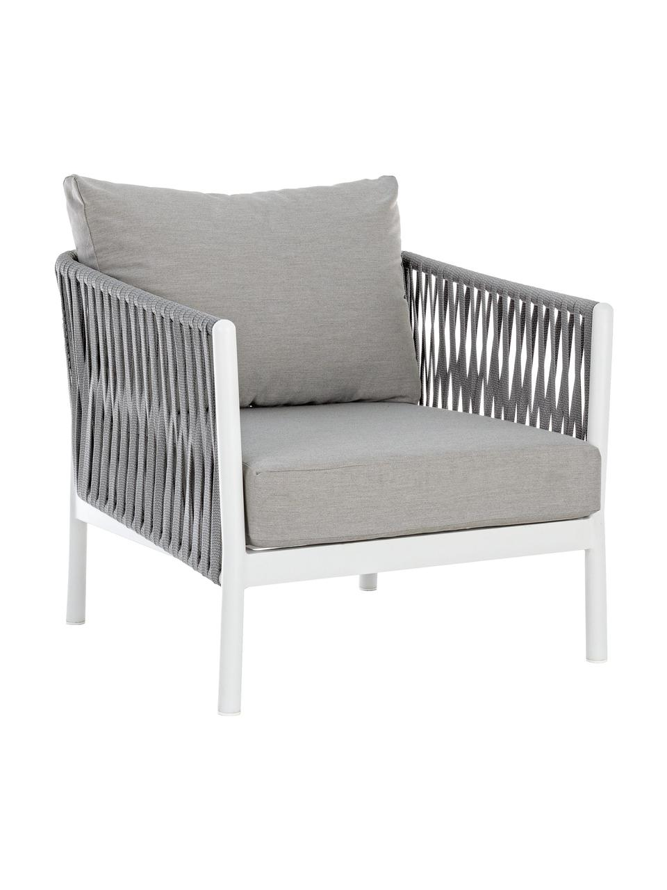 Outdoor loungefauteuilFlorencia, Frame: gepoedercoat aluminium, Zitvlak: polyester, Grijs, wit, B 80 x D 85 cm