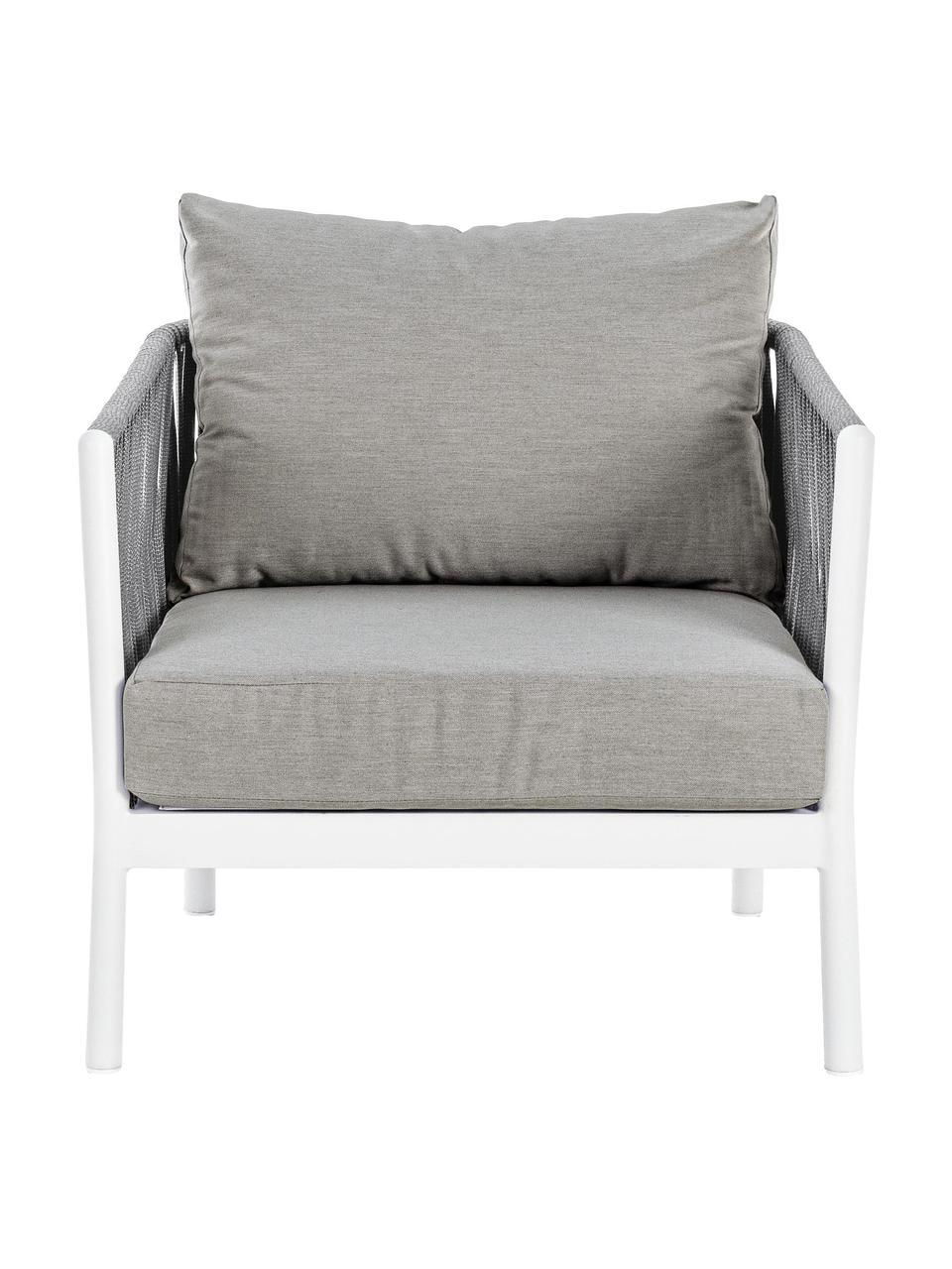 Fotel ogrodowy Florencia, Stelaż: aluminium, malowane prosz, Szary, biały, S 80 x G 85 cm