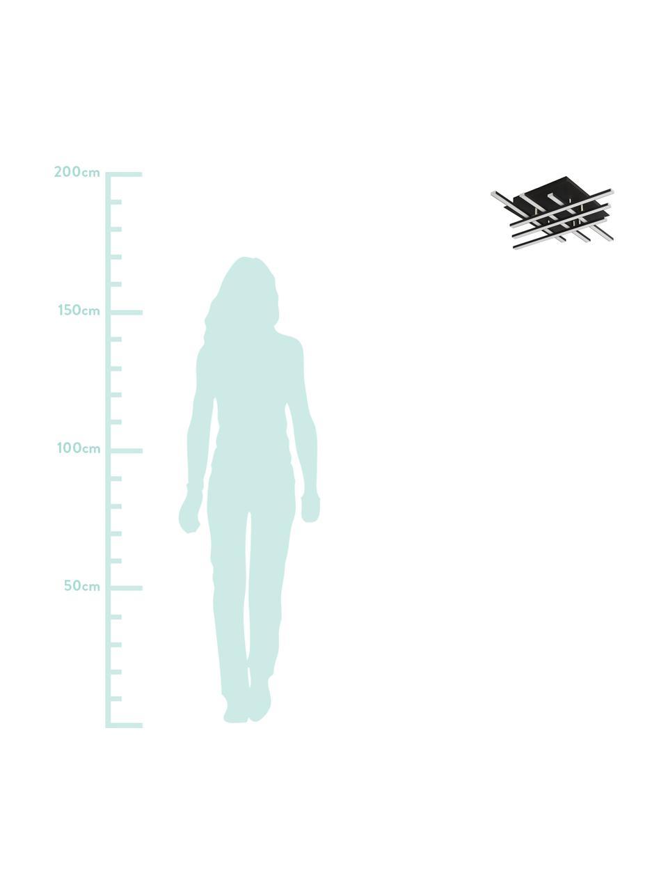 Dimmbare LED-Deckenleuchte Matrix, Lampenschirm: Aluminium, beschichtet, Baldachin: Metall, beschichtet, Schwarz, matt, Weiß, 46 x 9 cm