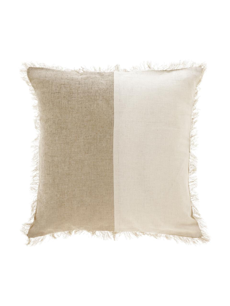 Federa arredo bicolore con frange Silene, 100% cotone, Beige, Larg. 45 x Lung. 45 cm