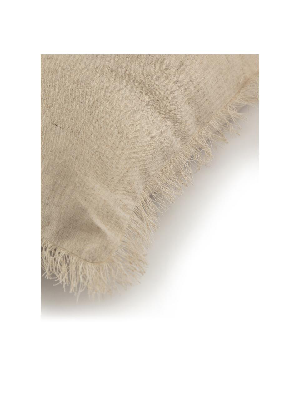 Zweifarbige Kissenhülle Silene mit Fransen, 100% Baumwolle, Beige, 45 x 45 cm