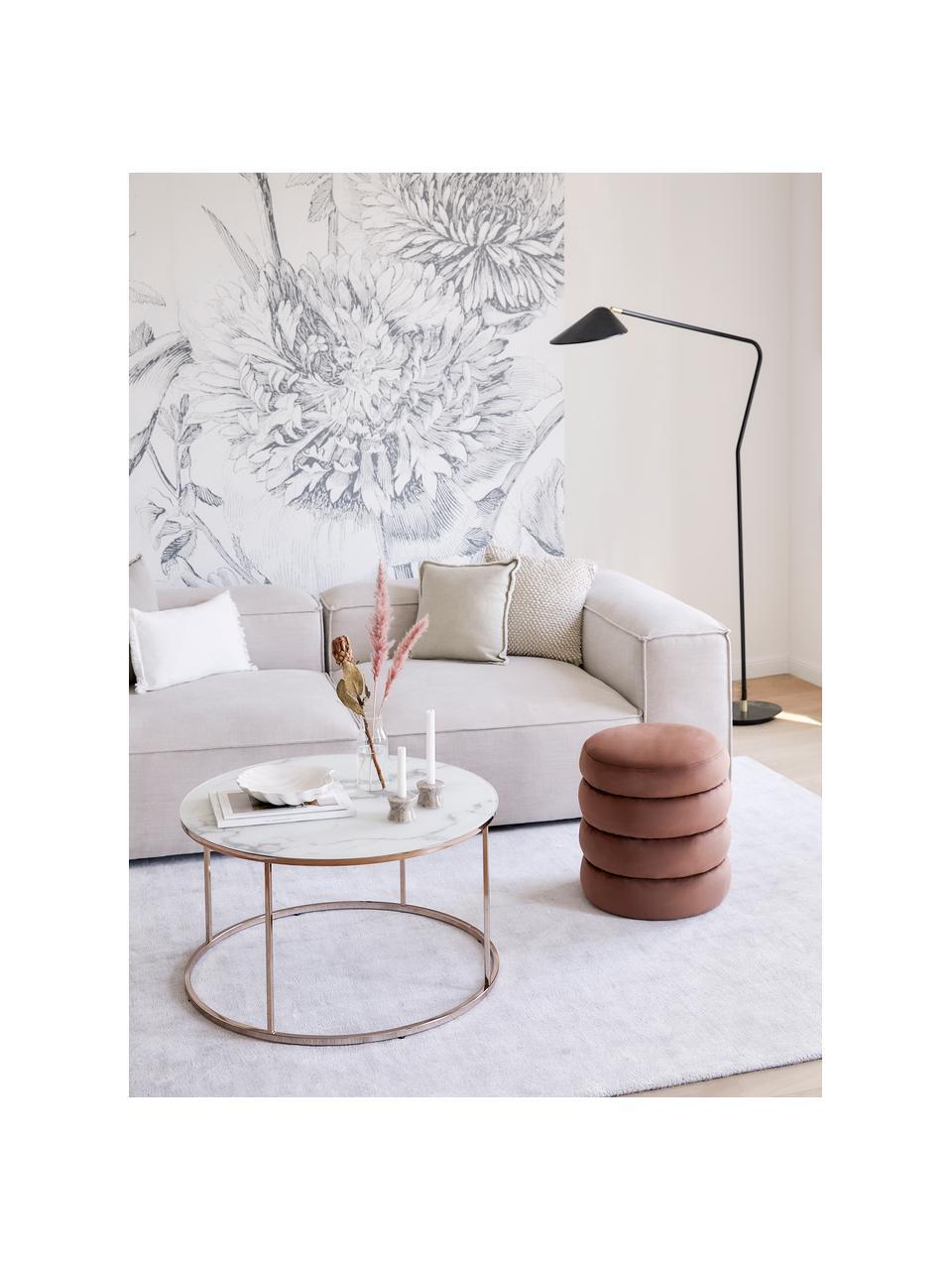 Tavolino da salotto con piano in vetro effetto marmo Antigua, Struttura: acciaio ottonato, Bianco-grigio marmorizzato, rosa dorato, Ø 80 x Alt. 45 cm