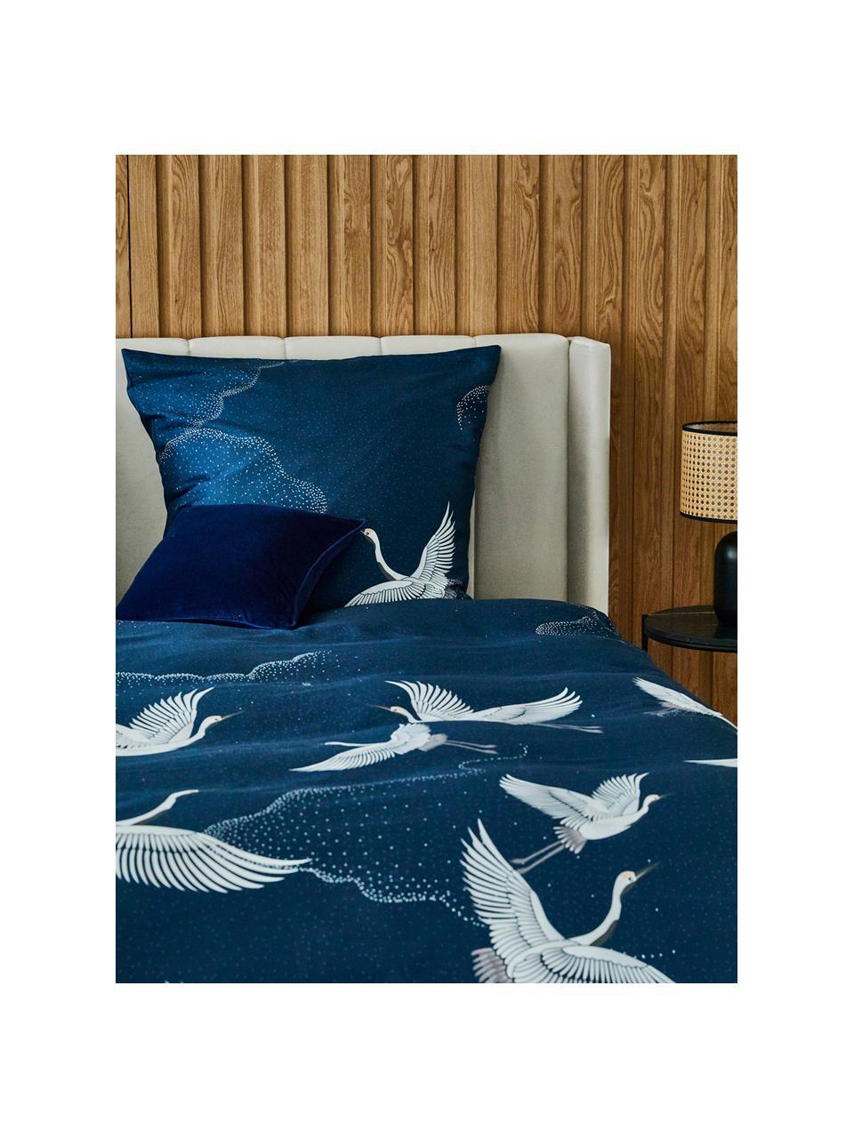 Pościel z satyny bawełnianej Yuma, Niebieski, biały, szary, 240 x 220 cm + 2 poduszki 80 x 80 cm