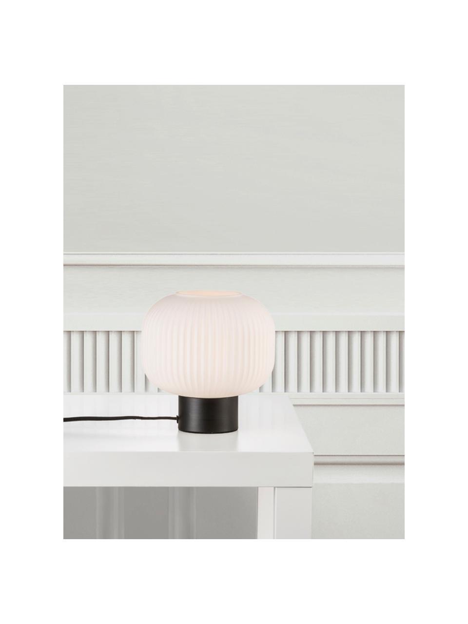 Lampada da tavolo in vetro opale Charles, Paralume: vetro opale, Base della lampada: metallo rivestito, Nero, bianco opalino, Ø 20 x Alt. 20 cm