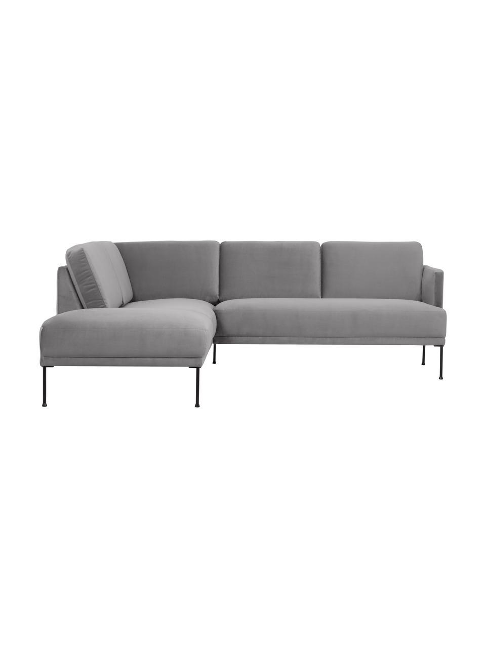 Sofa narożna z aksamitu z metalowymi nogami Fluente, Tapicerka: aksamit (wysokiej jakości, Nogi: metal malowany proszkowo, Aksamitny jasny szary, S 221 x G 200 cm