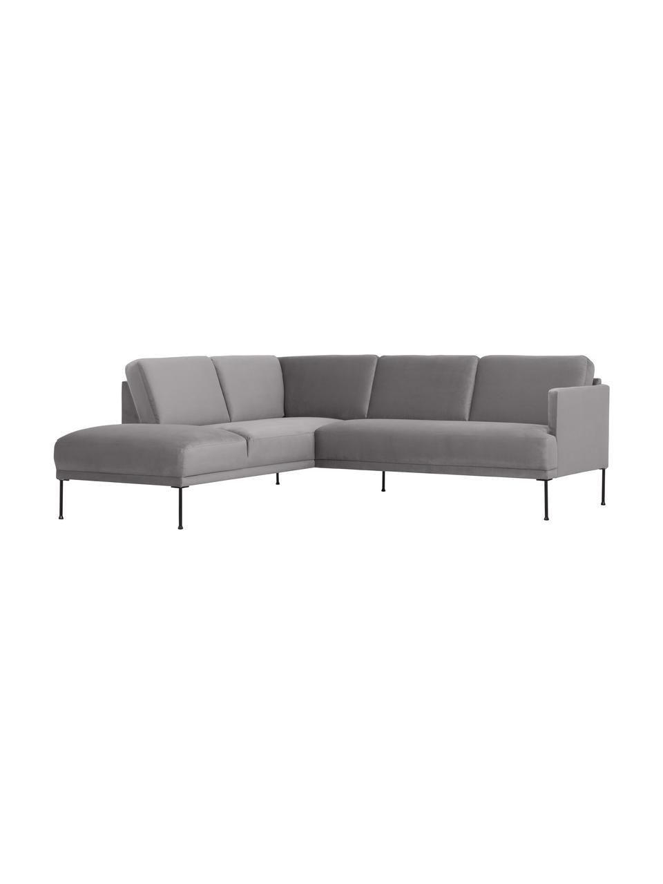 Canapé d'angle velours gris clair pieds en métal Fluente, Velours gris clair