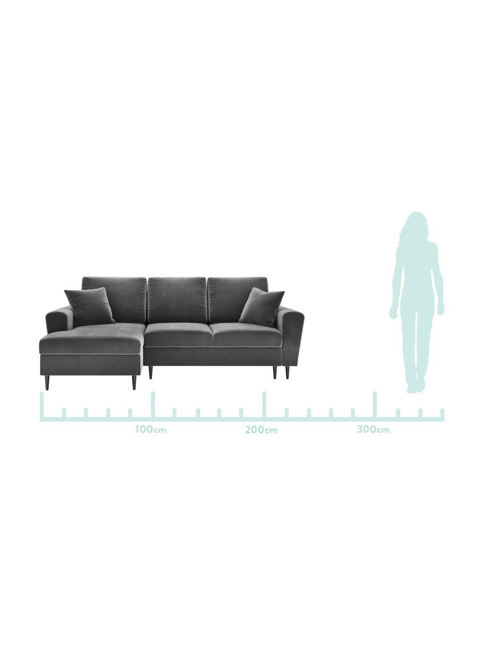 Sofa narożna z funkcją spania z miejscem do przechowywania Moghan (4-osobowa), Tapicerka: aksamit poliestrowy Dzięk, Stelaż: lite drewno sosnowe, skle, Nogi: metal lakierowany, Szary, czarny, S 236 x G 145 cm (lewostronna)